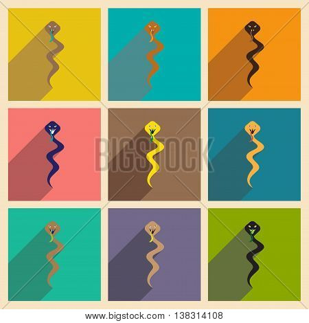 Modern flat icons collection with long shadow Indian boy