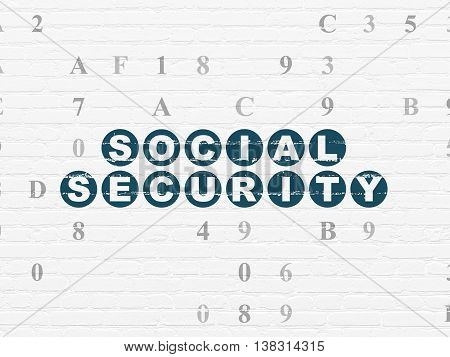 Safety concept: Painted blue text Social Security on White Brick wall background with Hexadecimal Code