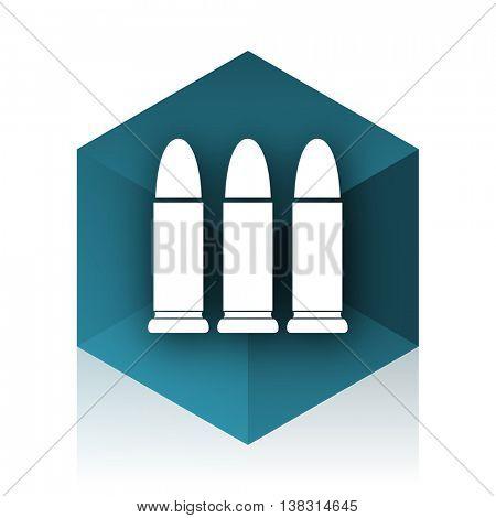 ammunition blue cube icon, modern design web element
