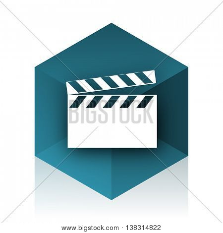 video blue cube icon, modern design web element