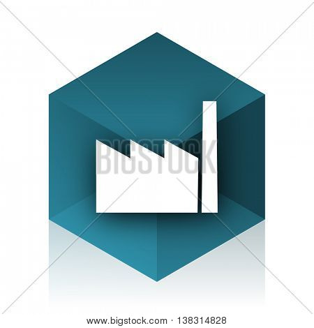 factory blue cube icon, modern design web element