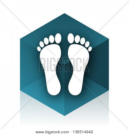 foot blue cube icon, modern design web element