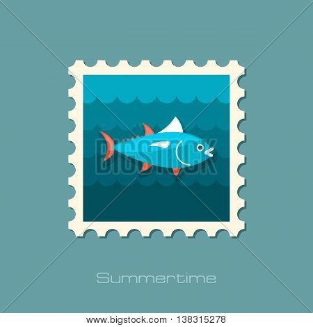 Tuna vector stamp. Fishing. Summer. Summertime. Holiday. Vacation eps 10