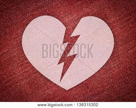 art broken heart on grunge red illustration background