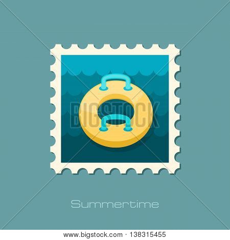 Towable Water Tube Inflatble Boat Floating Raft vector stamp. Beach. Summer. Summertime. Holiday. Vacation ride water sport eps 10
