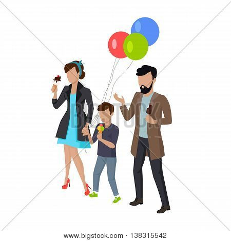 Childrens holiday with parents vector illustration. City entertainment with child concept. Child birthday walk. Man, woman and child eating ice-cream. Isolated on white background.