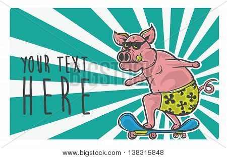pink pig skater vector in the action