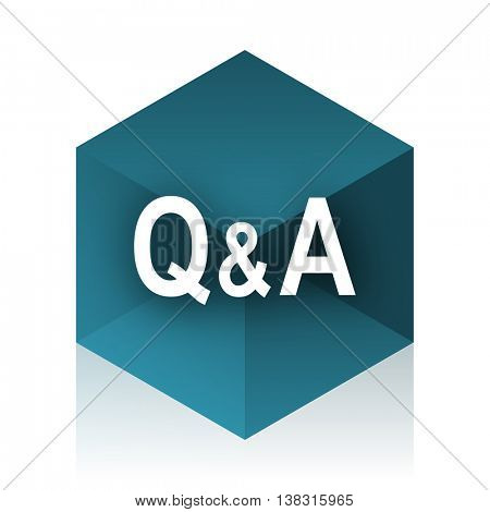 question answer blue cube icon, modern design web element