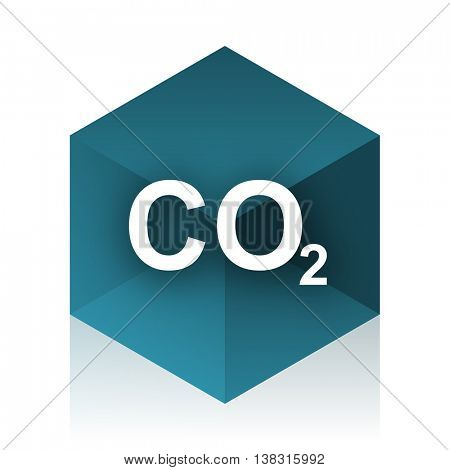 carbon dioxide blue cube icon, modern design web element