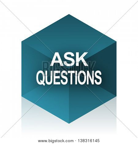 ask questions blue cube icon, modern design web element
