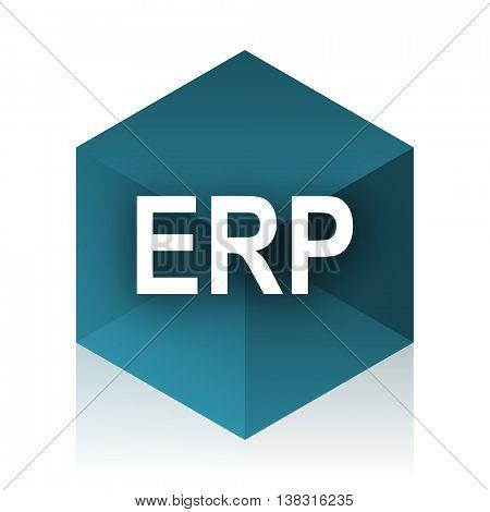 erp blue cube icon, modern design web element