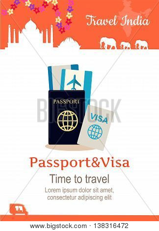 Travel India conceptual poster in flat style design. Summer vacation in exotic countries illustration. Journey to India vector template. Traveller documents concept.