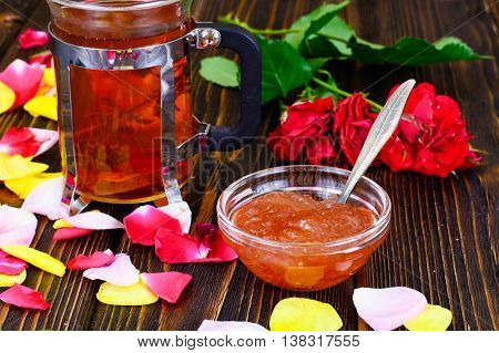 Jam Made of Rose Petals on the Old Wooden Boards. National Bulgarian Cuisine.
