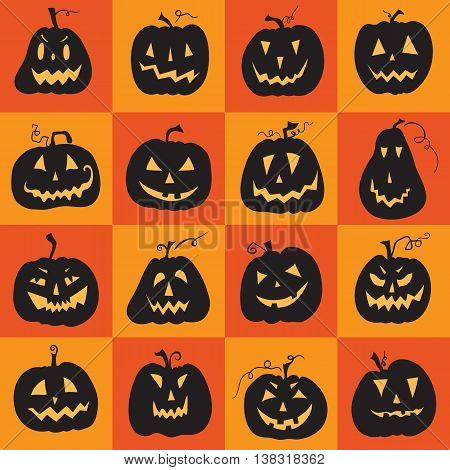 Set of a scary halloween pumpkin. Pumpkins designs with different facial expressions. Sixteen pumpkins.