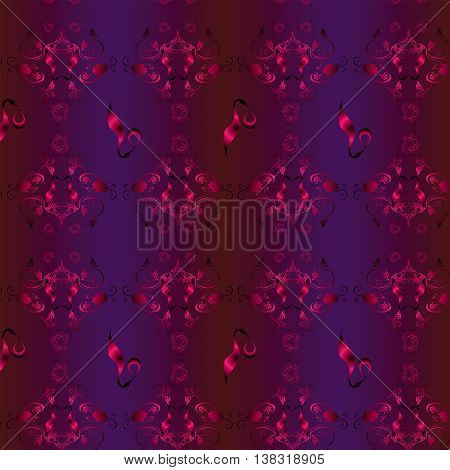 Burgundy red seamless vector background with pattern of grapes and twisted vines, flowers and silhouettes of the stork