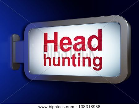 Finance concept: Head Hunting on advertising billboard background, 3D rendering