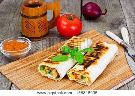 Shawarma Lavash with Rice and Vegetables Studio Photo