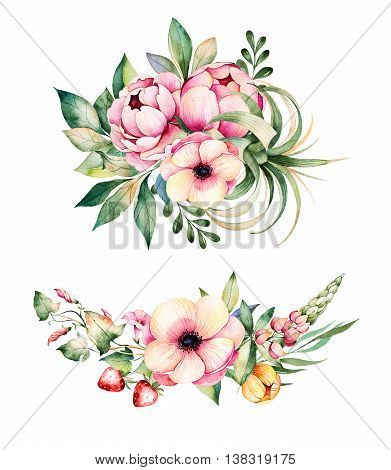 Colorful floral collection with flower, peonies,l eaves, field bindweed, branches, lupin, air plant, strawberry and more