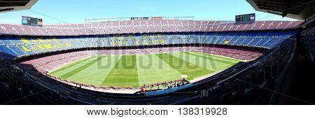 Barcelona, Spain - June 19, 2016: Grandstands and turf stadium Camp Nou in Barcelona, Spain