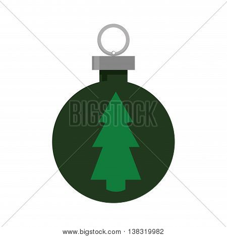 Merry Christmas concept represented by pine tree inside sphere icon. Isolated and flat illustration