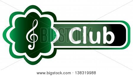 Double icon with a symbol of a treble clef and inscription club