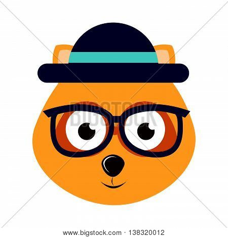 dog character hipster style isolated icon design, vector illustration  graphic