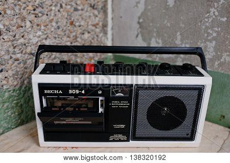 Kyznetsovsk, Ukraine - July 09, 2016: Vintage Ussr Cassette Tape Recorder