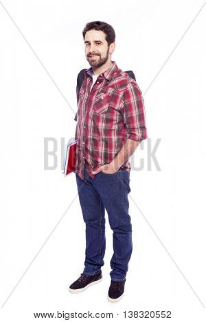 Full body portrait of a smiling student, isolated on white background