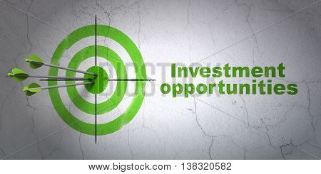 Success finance concept: arrows hitting the center of target, Green Investment Opportunities on wall background, 3D rendering