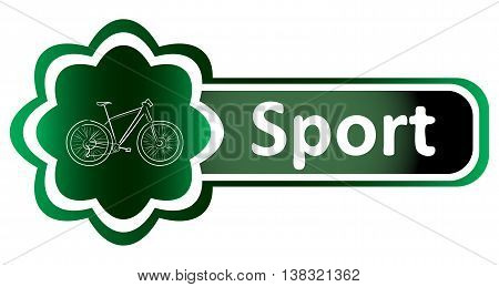 Double icon green bicycle and inscription sport