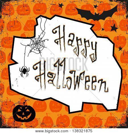 Vector illustration. Orange backdrop with scary pumpkins.