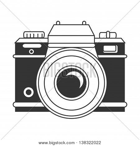 Vintage photographic camera in black and white colors isolated icon, vector illustration.