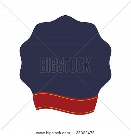 Label concept represented by seal stamp and ribbon icon. Isolated and flat illustration