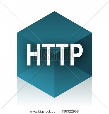 http blue cube icon, modern design web element