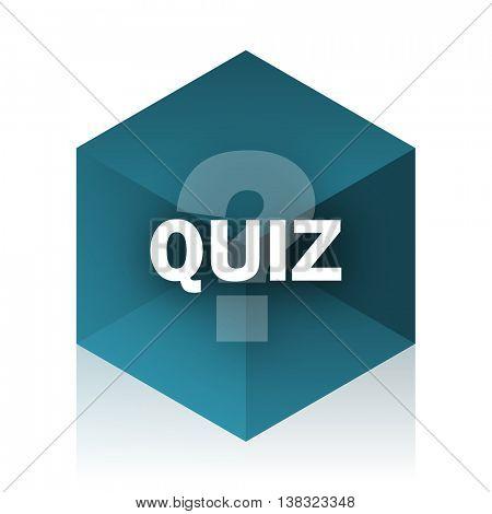 quiz blue cube icon, modern design web element