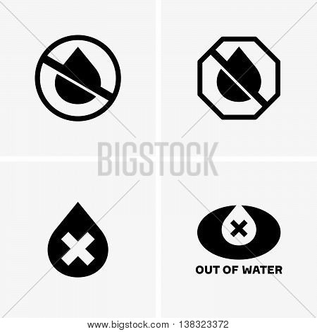 Set of four out of water signs