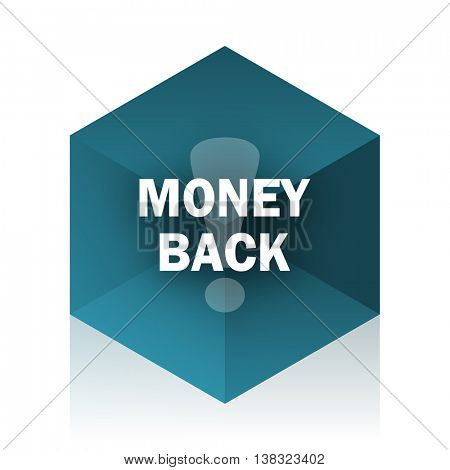 money back blue cube icon, modern design web element