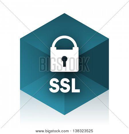 ssl blue cube icon, modern design web element