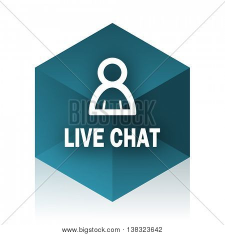live chat blue cube icon, modern design web element