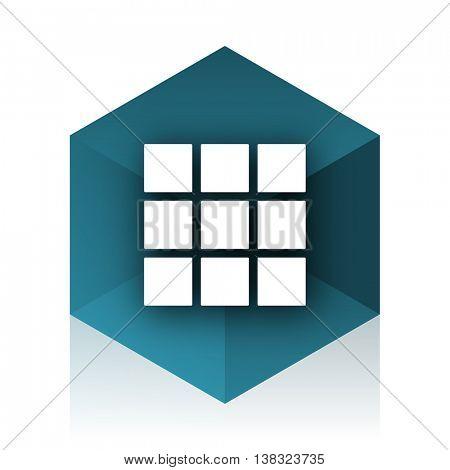 thumbnails grid blue cube icon, modern design web element
