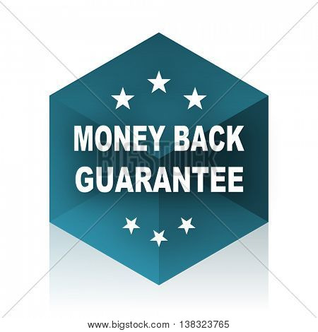 money back guarantee blue cube icon, modern design web element