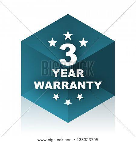 warranty guarantee 3 year blue cube icon, modern design web element