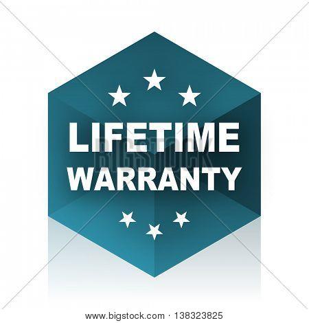 lifetime warranty blue cube icon, modern design web element