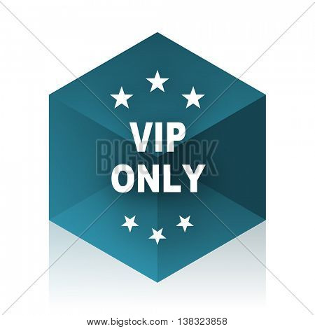 vip only blue cube icon, modern design web element