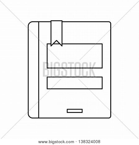 Closed book icon in outline style isolated vector illustration