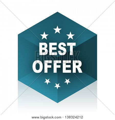 best offer blue cube icon, modern design web element
