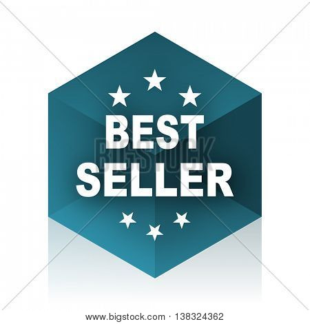 best seller blue cube icon, modern design web element