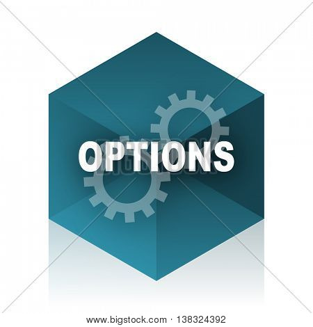options blue cube icon, modern design web element