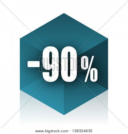 90 percent sale retail blue cube icon, modern design web element