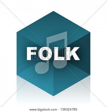 folk music blue cube icon, modern design web element